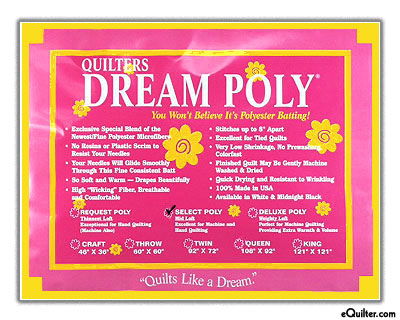 "Quilters Dream Poly Select Batting - White - 93"" Wide"