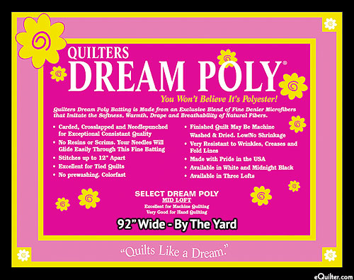 "Quilters Dream Poly Select Batting - BLACK - 92"" Wide"