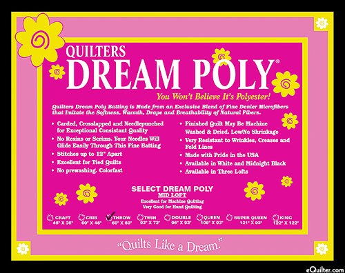 "Quilters Dream Poly Select Batting - BLACK - Throw 60"" x 60"""