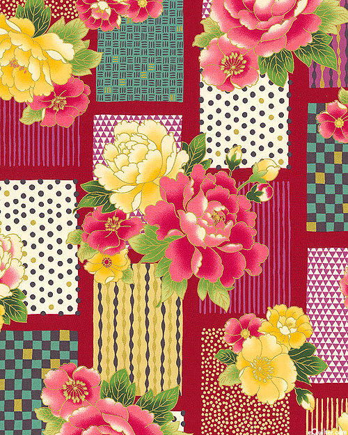Japanese Import - Modern Metallic - Graphic Florals - Red/Gold