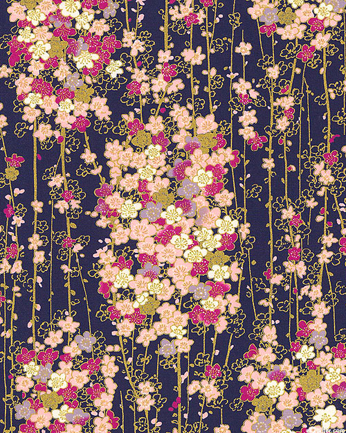 Japanese Import - Modern Blossoms - Cherry Blossoms - Navy/Gold
