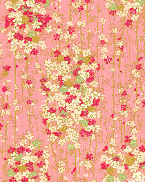 Japanese Import - Modern Blossoms - Cherry Blossoms - Pink/Gold