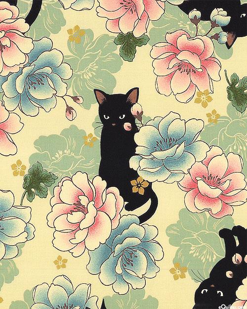 Japanese Import - Hyakka Ryoran Neko - Peony Cat - Beige/Gold