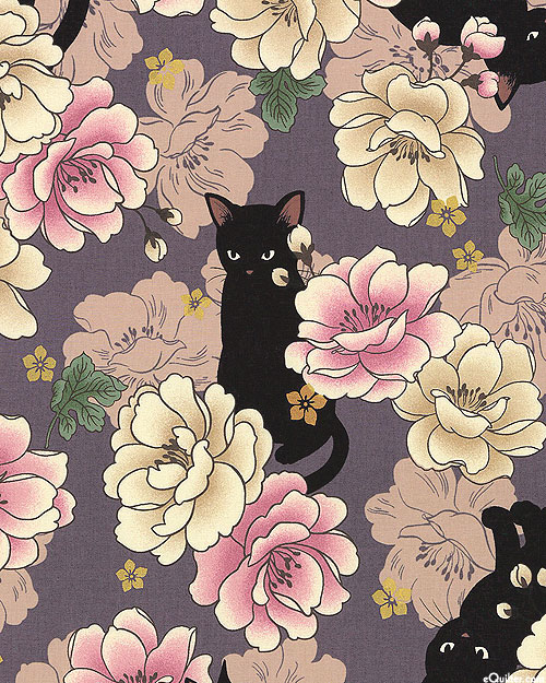 Japanese Import - Hyakka Ryoran Neko - Peony Cat - Purple/Gold