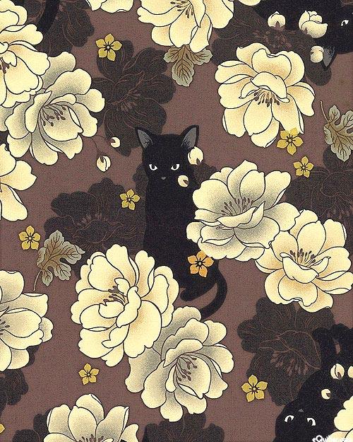 Japanese Import - Hyakka Ryoran Neko - Peony Cat - Mocha/Gold