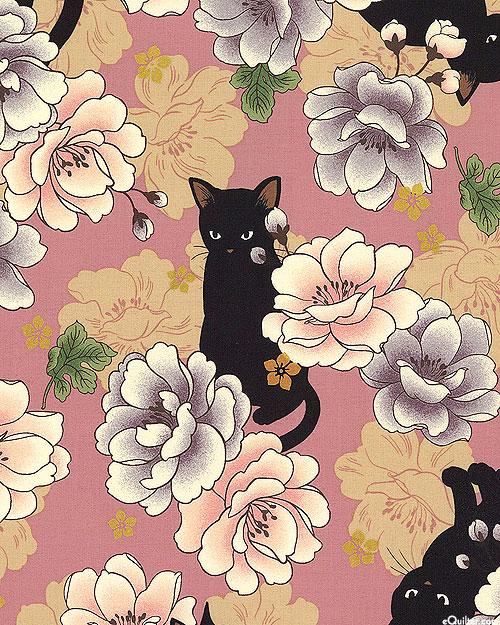 Japanese Import - Hyakka Ryoran Neko - Peony Cat - Pink/Gold