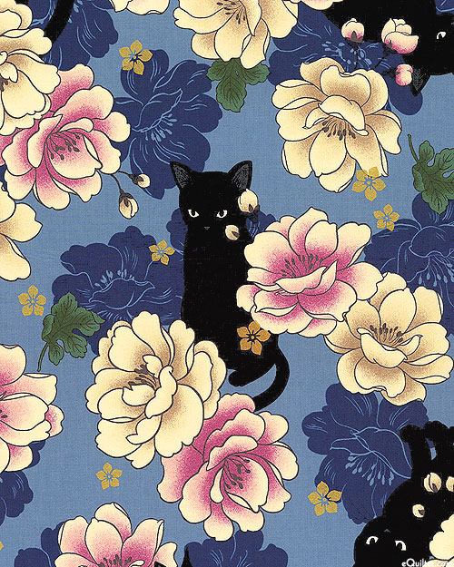 Japanese Import - Hyakka Ryoran Neko - Peony Cat - Sky Blue/Gold