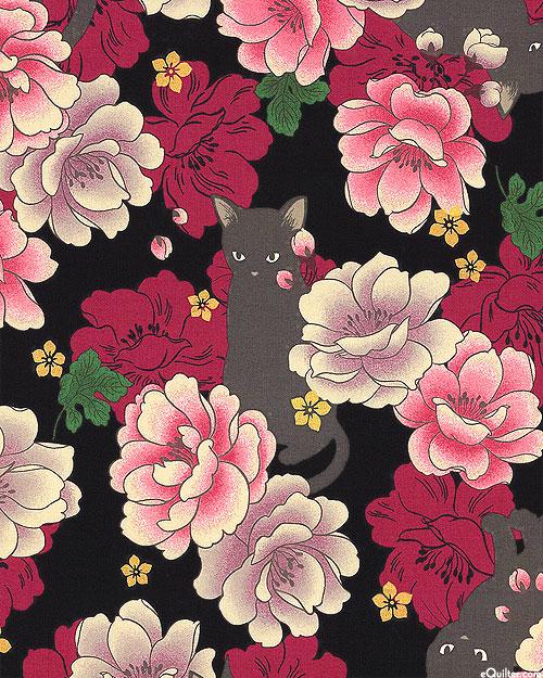 Japanese Import - Hyakka Ryoran Neko - Peony Cat - Black/Gold