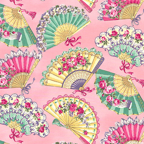 Japanese Import - Marie - Floral Fans - Taffy Pink