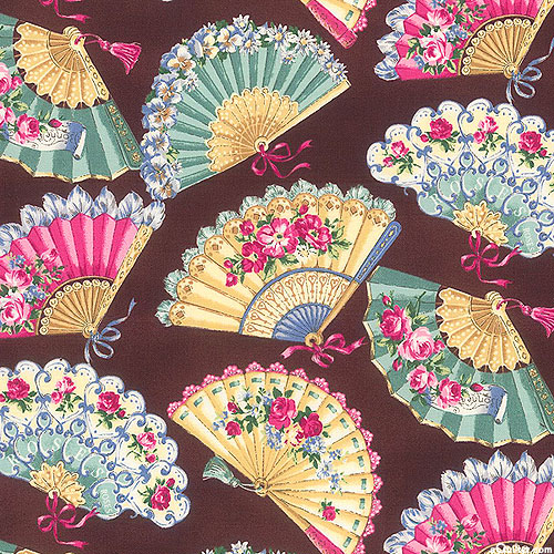 Japanese Import - Marie - Floral Fans - Dark Chocolate Brown
