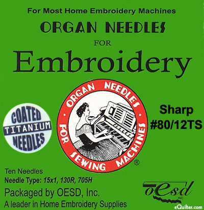 Organ Machine Embroidery Needles - Size 12 - Sharp - TITANIUM