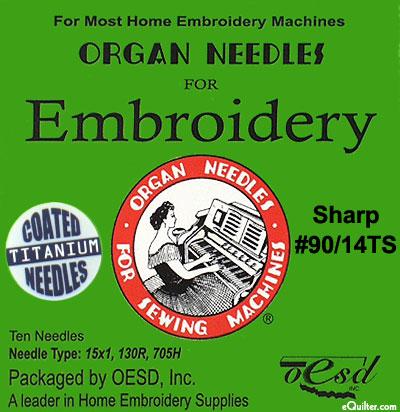 Organ Machine Embroidery Needles - Size 14 - Sharp - TITANIUM