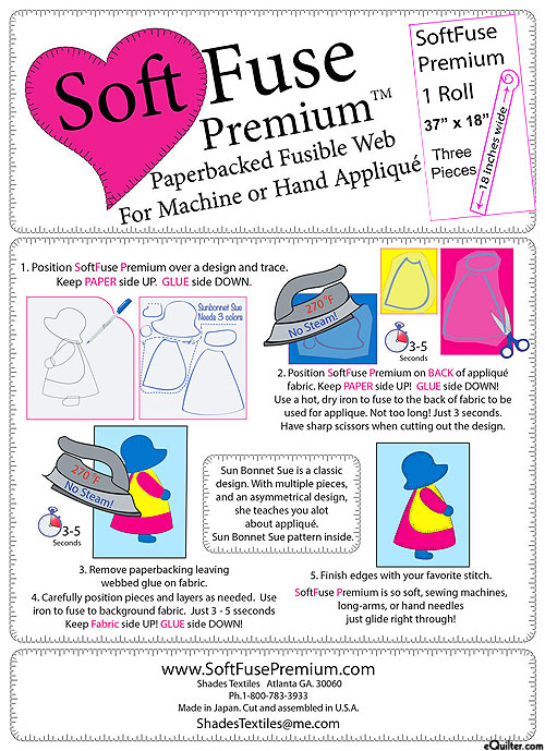 """Soft Fuse Premium - Paperbacked Fusible Web 3 yd x 18"""" Wide Roll"""