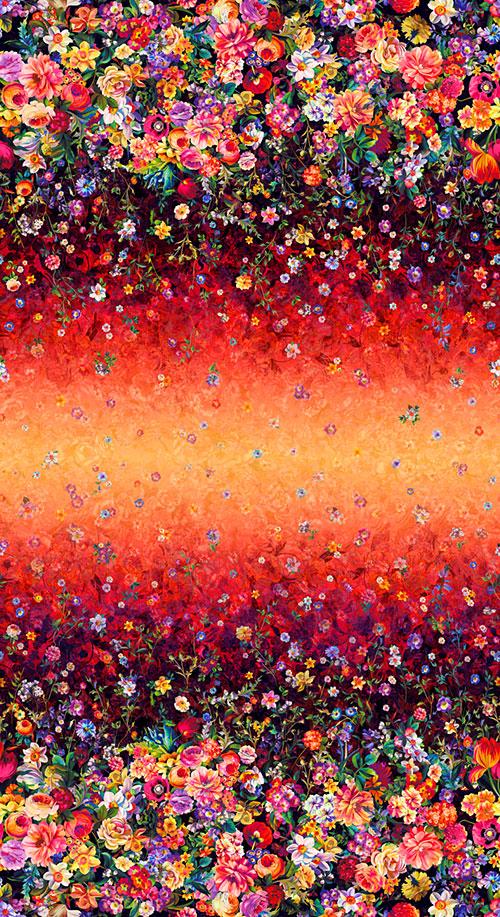 Arcadia - Floret Cascade Border - Ruby Glow - DIGITAL PRINT