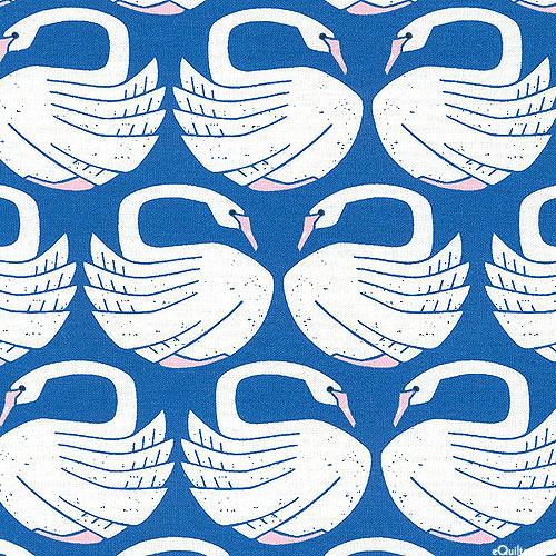 On a Spring Day - Loving Swans - Royal Blue - COTTON/LINEN