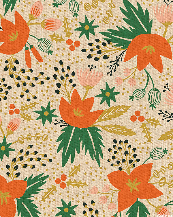 Holiday Classics - Florals & Holly - Tan/Gold - COTTON/LINEN