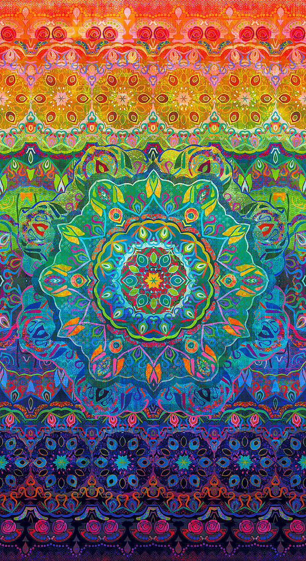 "Flourish - Faux Woven Rainbow - 24"" x 44"" PANEL - DIGITAL PRINT"