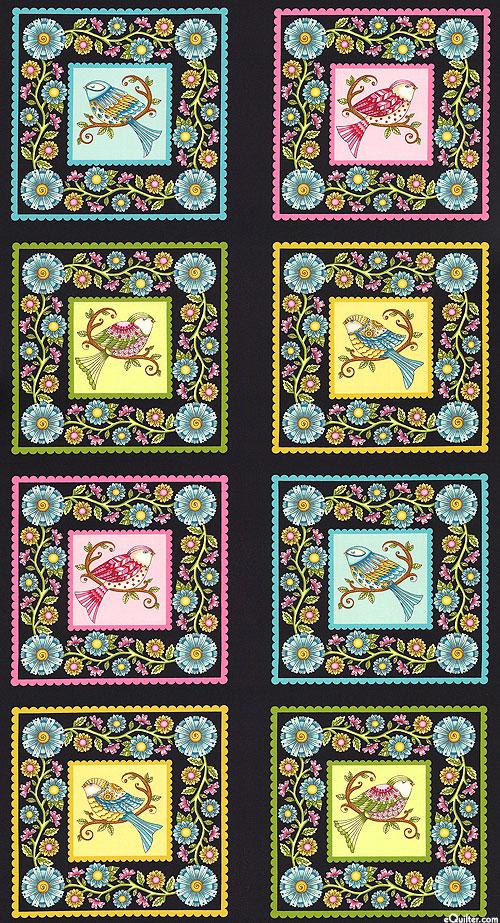 "Lori's Art Garden - Sweet Bird Blocks - Black - 24"" x 44"" PANEL"