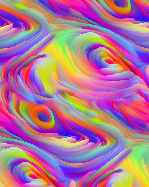 Swirling Psychedelic Waves - Multi - DIGITAL PRINT