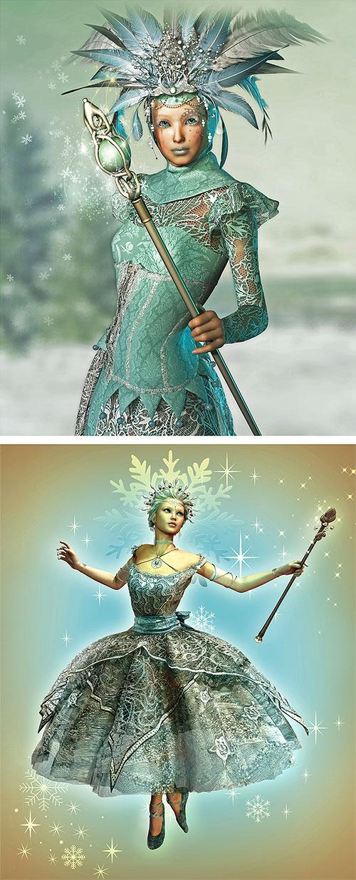 "Ice Queens - Snow Ball - 26"" x 44"" PANEL - DIGITAL PRINT"