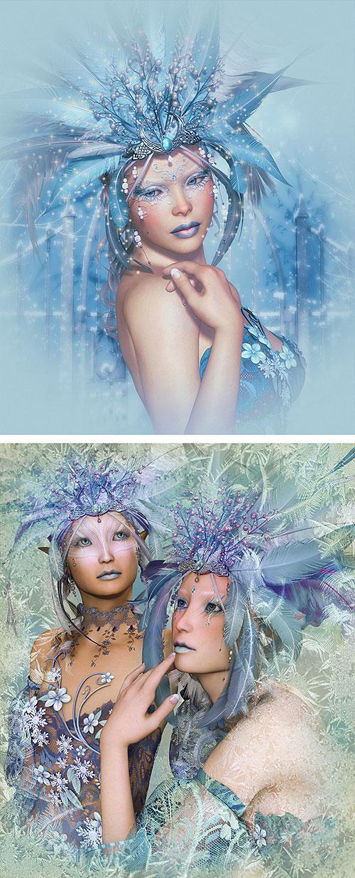 """Ice Queens - Masquerade - 26"""" x 44"""" PANEL - DIGITAL PRINT"""