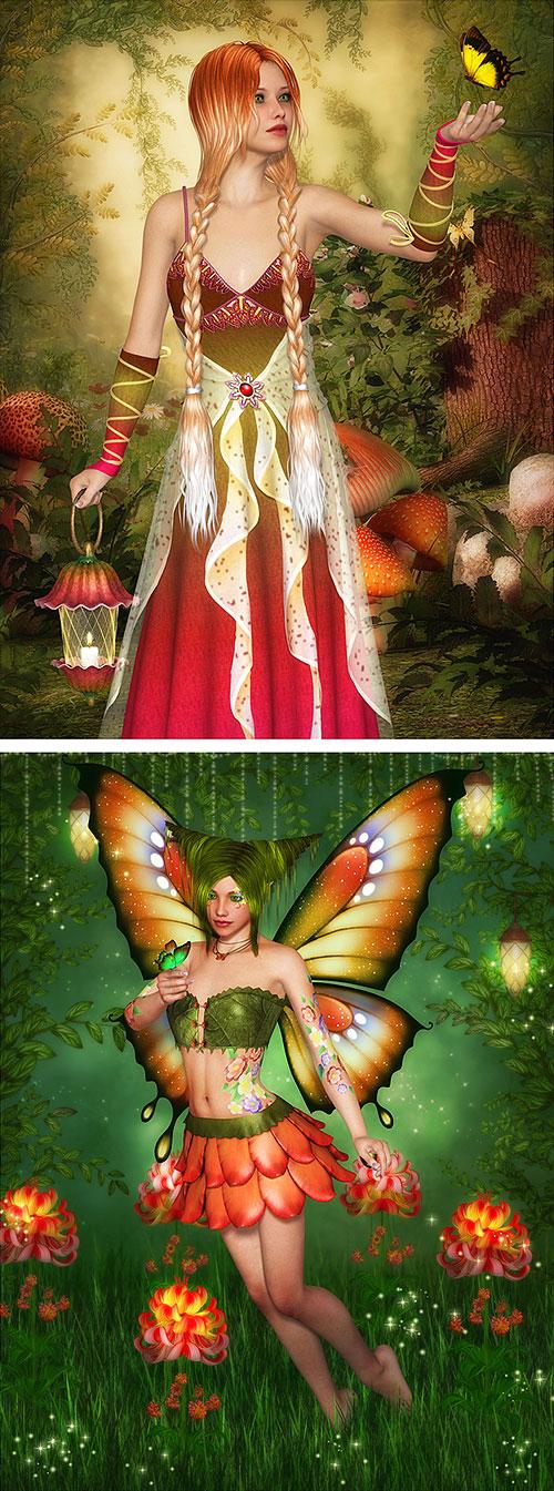 "Fairy Land - Butterfly Wings - 29"" x 44"" PANEL - DIGITAL PRINT"