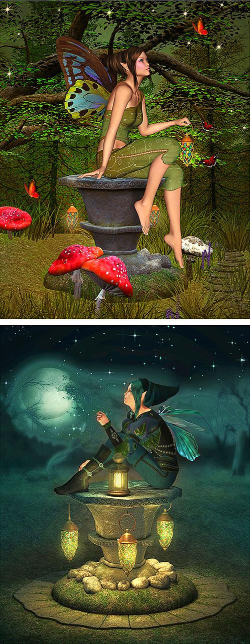 "Fairy Land - Night Fairies - 28"" x 44"" PANEL - DIGITAL PRINT"