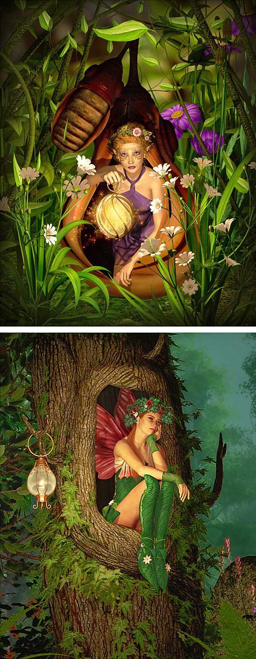 "Fairy Land - Woodland Fairies - 28"" x 44"" PANEL - DIGITAL PRINT"