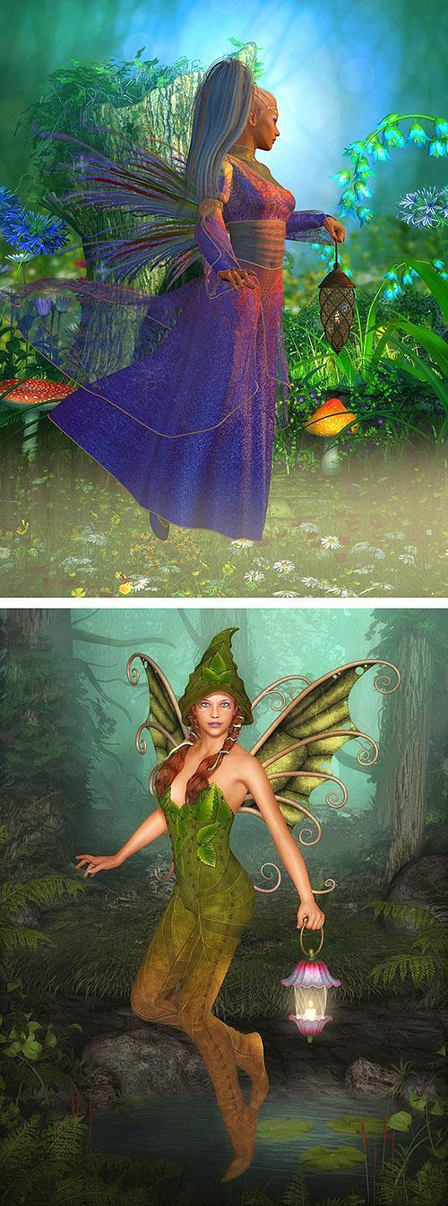 "Floating Fairies - Exotica - 29"" X 44"" PANEL - DIGITAL PRINT"