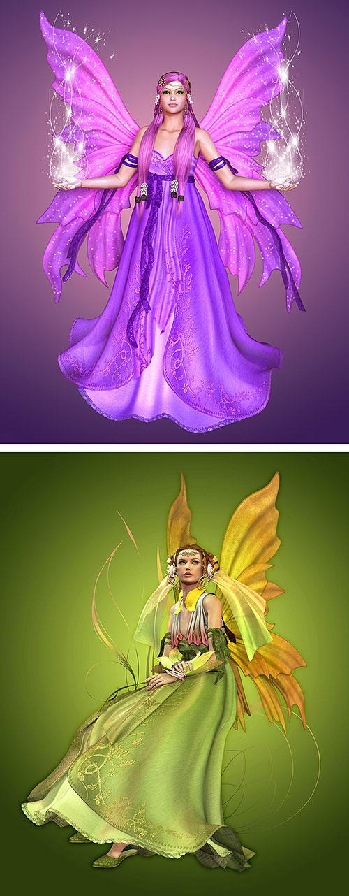 """Magic Fairies - Garden Divas 2 - 27"""" X 44"""" PANEL - DIGITAL PRINT"""