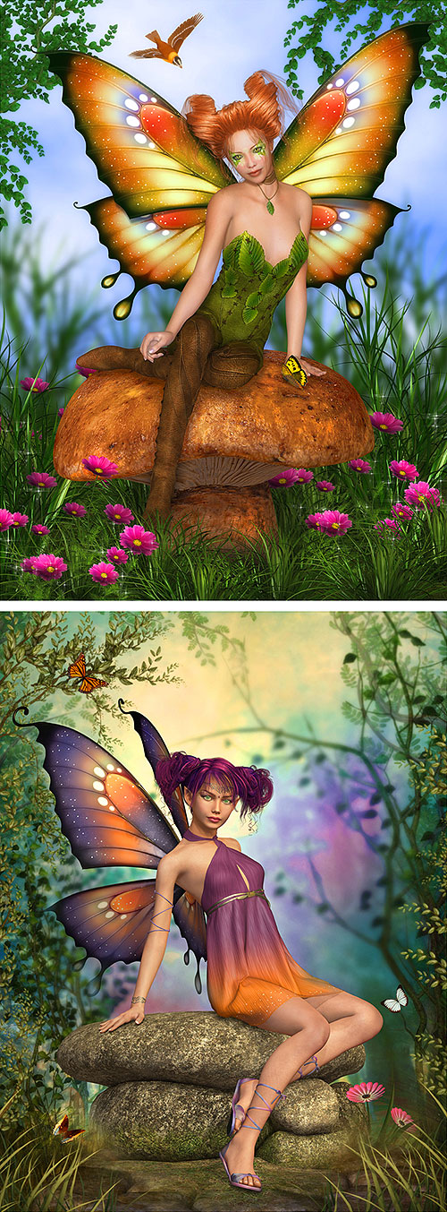 "Butterfly Fairytales - Sprites - 29"" X 44"" PANEL - DIGITAL PRINT"