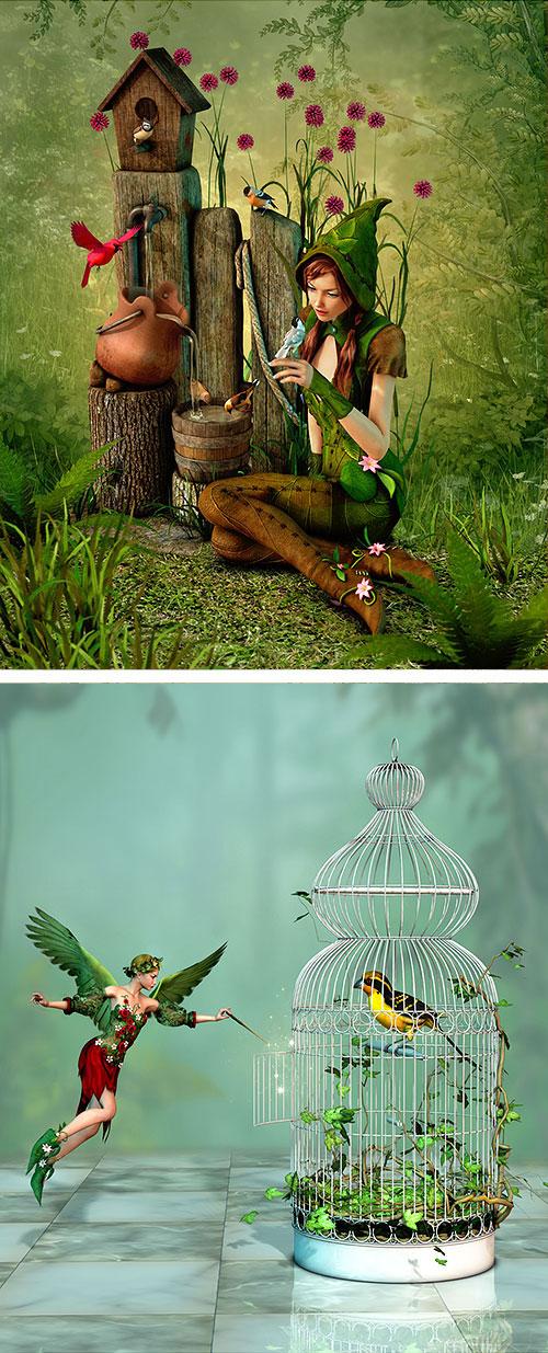 "Fairies - Set the Birds Free - 26"" x 44"" PANEL DIGITALLY PRINTED"