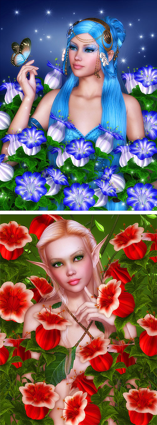 """Fairies with Red & Blue Bells - 29"""" x 44"""" PANEL - DIGITAL PRINT"""