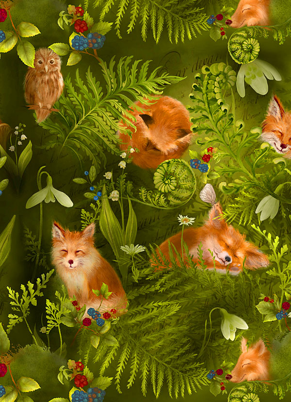 Foxes in the Enchanted Forest - Moss Green - DIGITAL PRINT