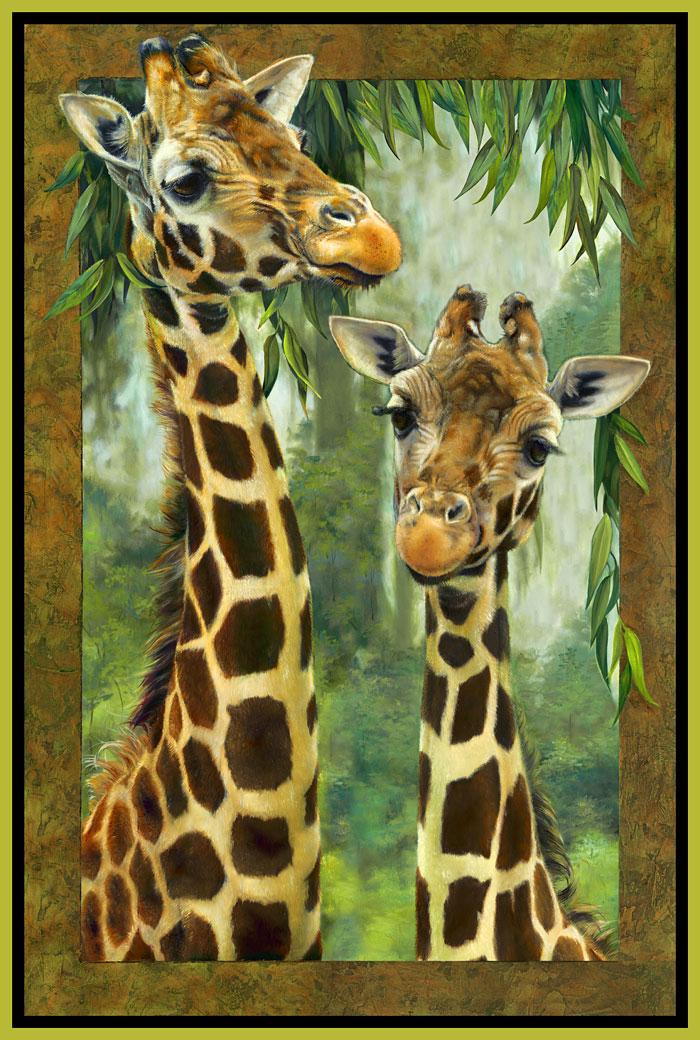 "Jungle Giraffes - Chartreuse - 29"" x 44"" PANEL - DIGITAL PRINT"