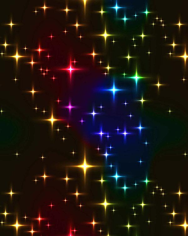 Rainbow Shining Stars - Black - DIGITAL PRINT