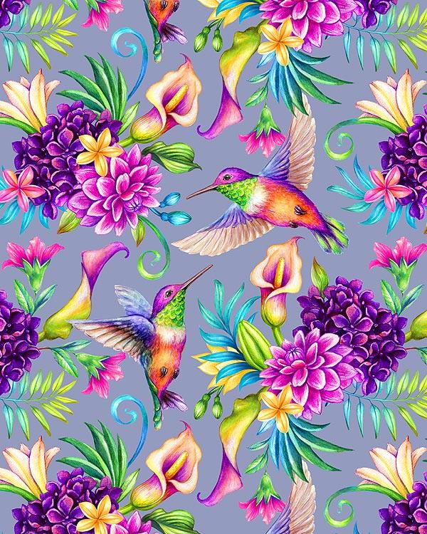 Hummingbird Garden - Sterling Gray - DIGITAL PRINT