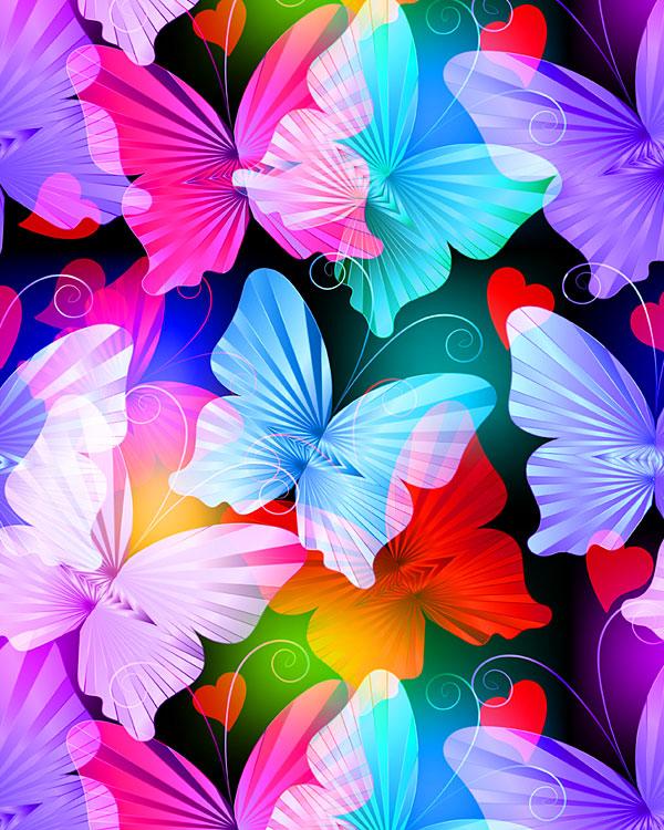 Radiant Butterflies - Large Sweethearts - Multi - DIGITAL PRINT