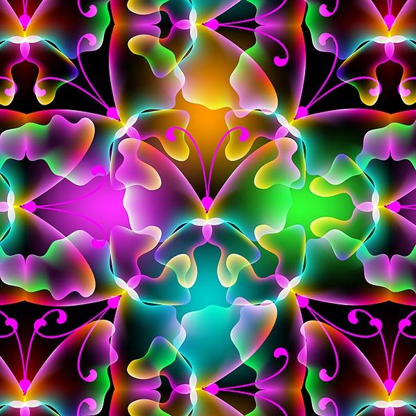 Tropical Butterflies - Glowing Wings - Multi - DIGITAL PRINT