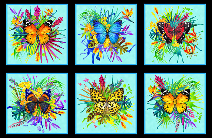 "Tropical Butterflies - Aqua - 28"" X 44"" PANEL - DIGITAL PRINT"