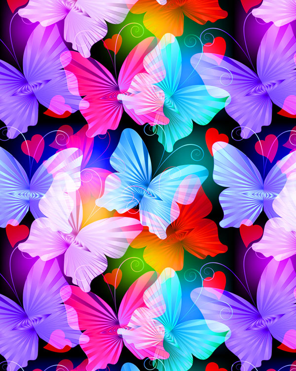 Radiant Butterflies - Small Sweethearts - Multi - DIGITAL PRINT