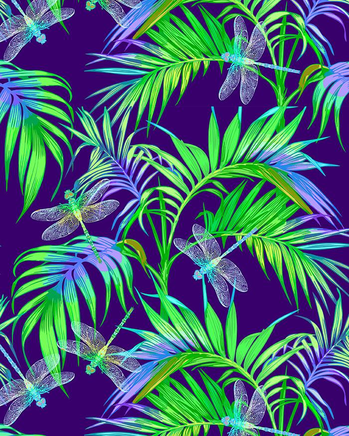 Illuminated Dragonflies - Wings & Leaves - Dk Blue - DIGITAL