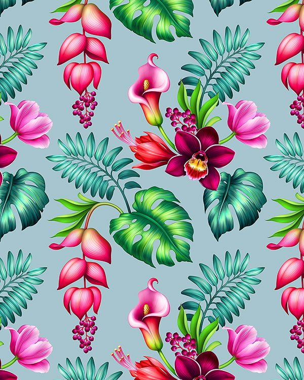 Tropical Floral Wonder - Sage - DIGITAL PRINT
