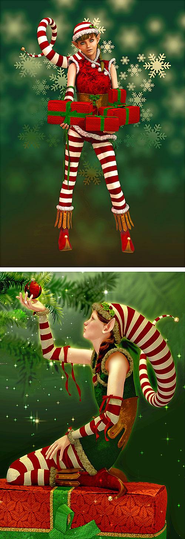 "Christmas - Santa's Helper 1 - 31"" x 44"" PANEL - DIGITAL PRINT"