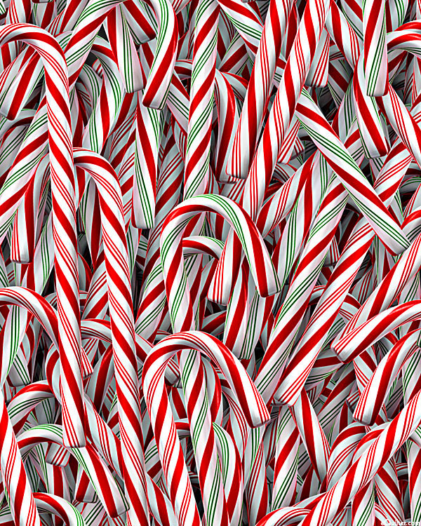 Christmas - Candy Canes - White - DIGITAL PRINT