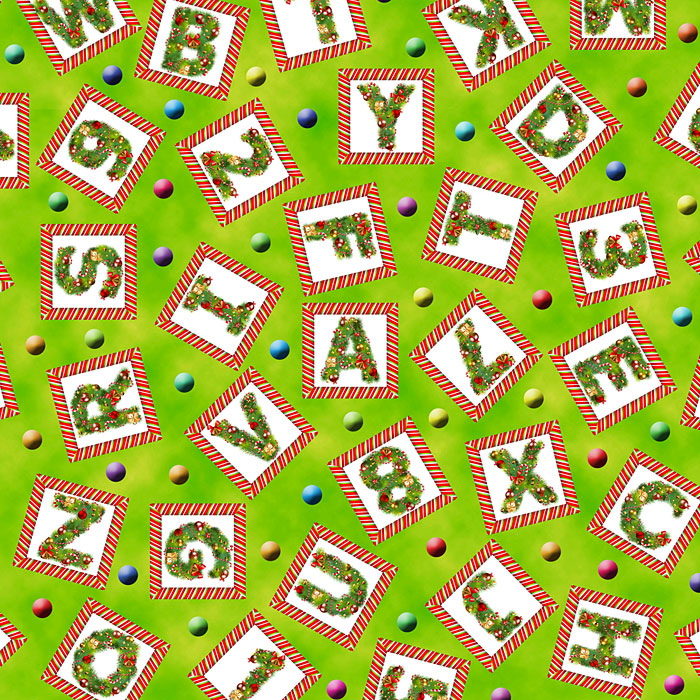 Candy Cane ABC - Tossed Letters & Numbers - Bright Green