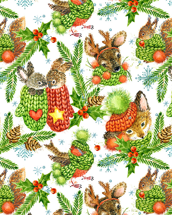 Christmas Forest Animals - White - DIGITAL PRINT