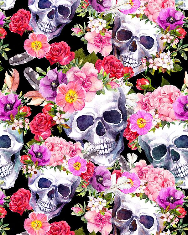 Skulls & Flowers - Rest in Romance - Black - DIGITAL PRINT