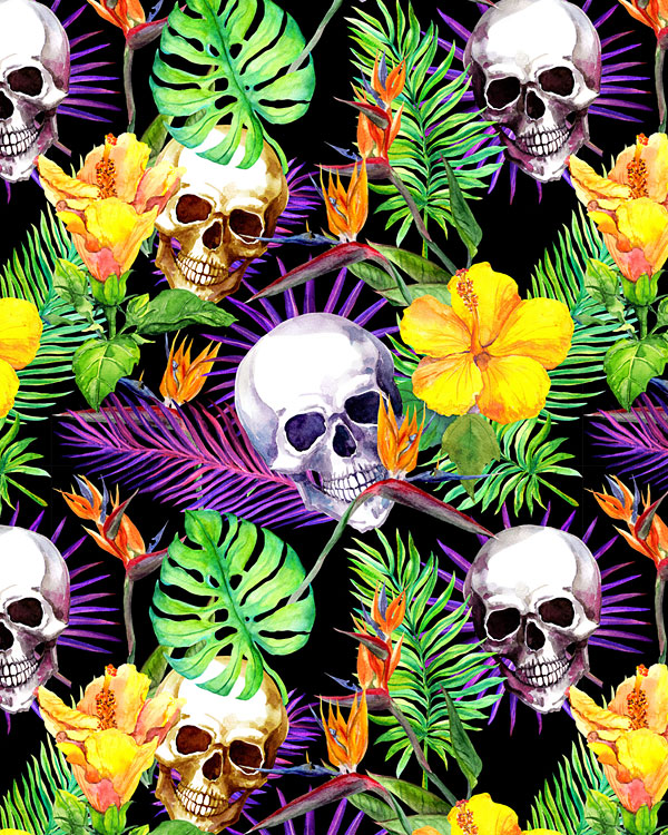 Skulls and Tropical Flowers - Black - DIGITAL PRINT