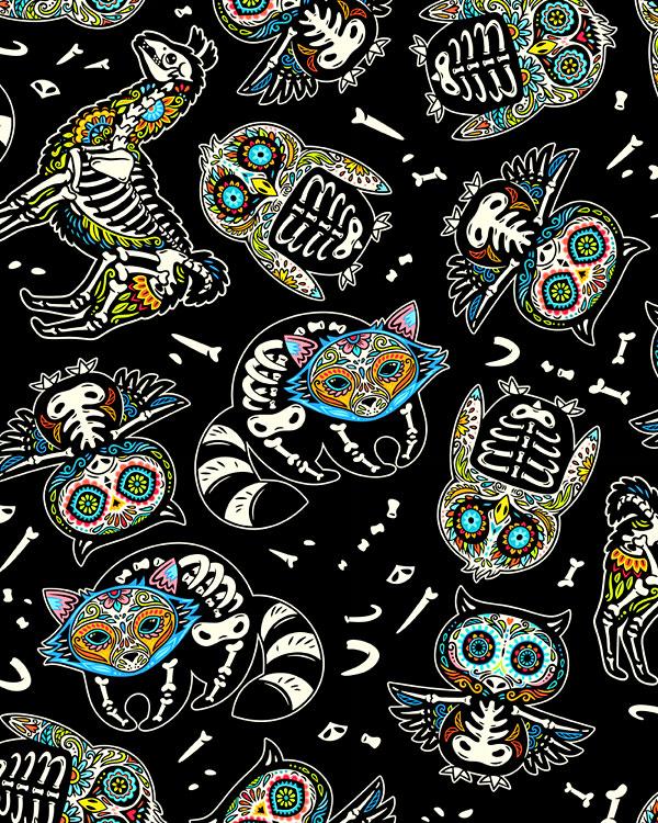 Sugar Skull Animals - Black - DIGITAL PRINT